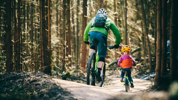 Parent and child riding Lady Cannings trail