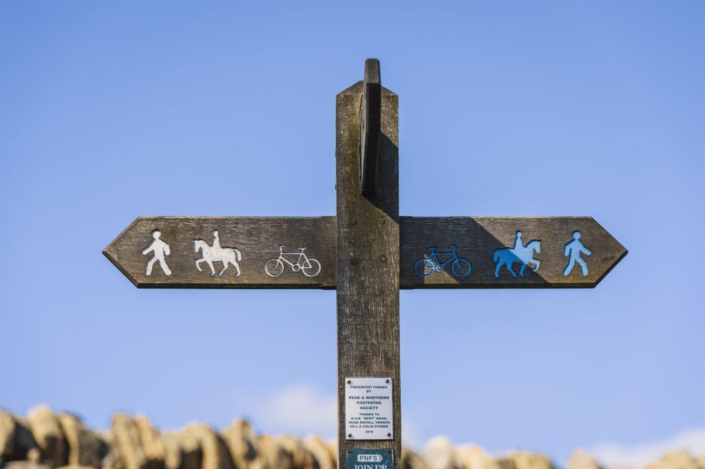 Public Bridleway sign on Houndkirk Moor
