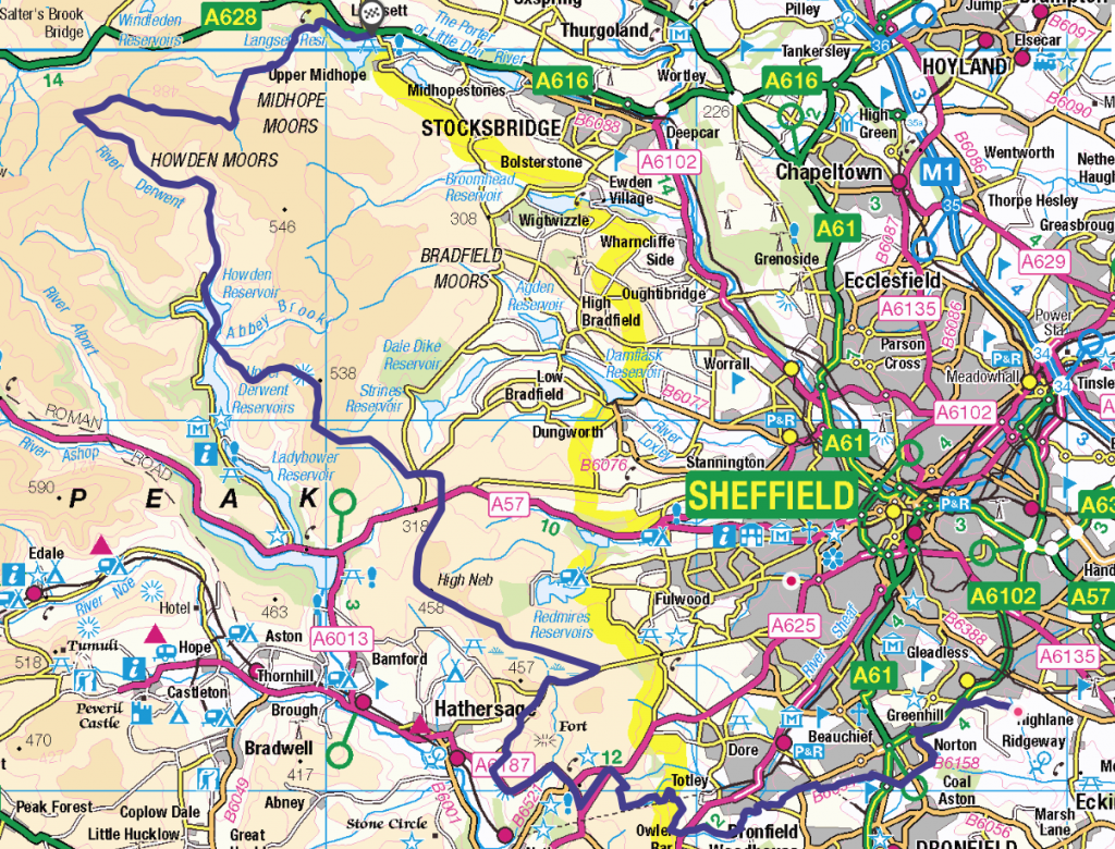 Sheffield boundary road map