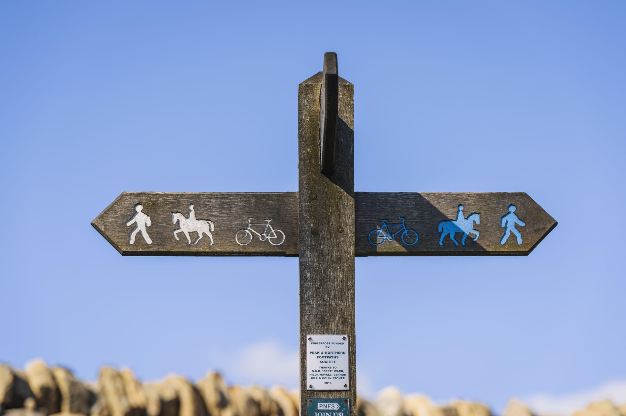 Bridleways signs on Houndkirk Moor